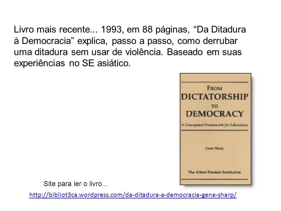 Livro mais recente... 1993, em 88 páginas, Da Ditadura à Democracia explica, passo a passo, como derrubar uma ditadura sem usar de violência. Baseado em suas experiências no SE asiático.