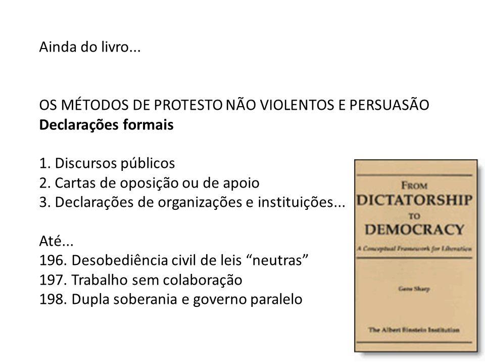 Ainda do livro... OS MÉTODOS DE PROTESTO NÃO VIOLENTOS E PERSUASÃO. Declarações formais. 1. Discursos públicos.