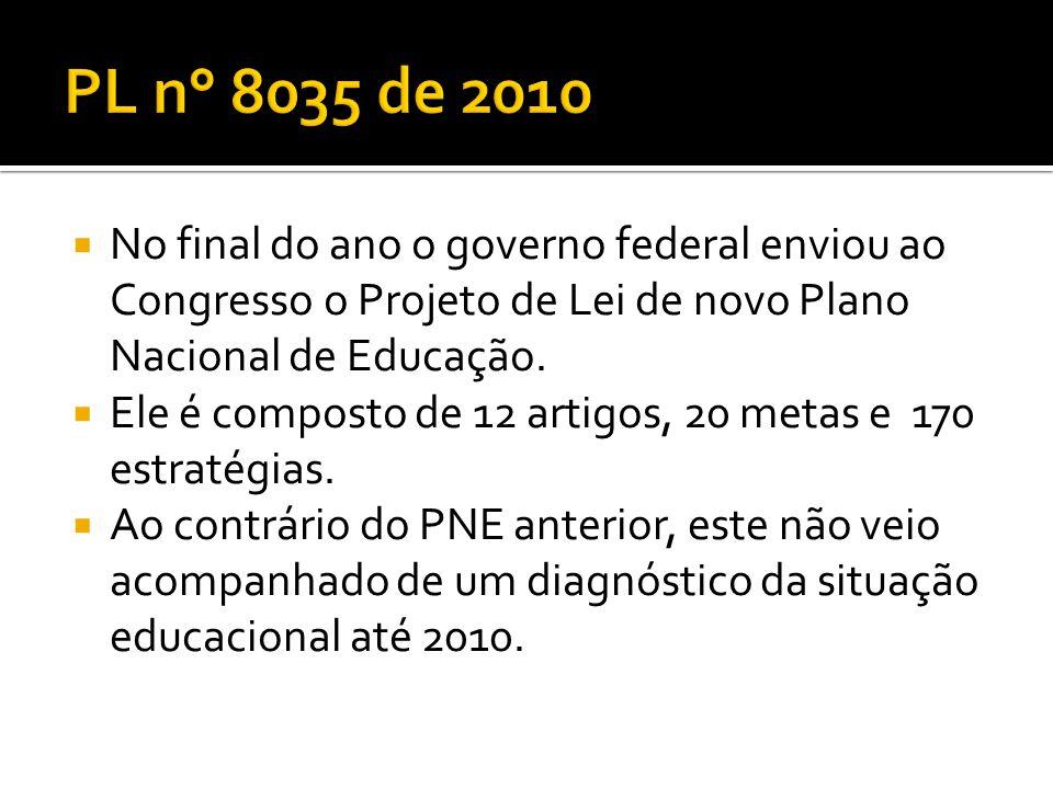PL n° 8035 de 2010 No final do ano o governo federal enviou ao Congresso o Projeto de Lei de novo Plano Nacional de Educação.