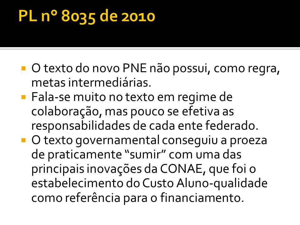 PL n° 8035 de 2010 O texto do novo PNE não possui, como regra, metas intermediárias.
