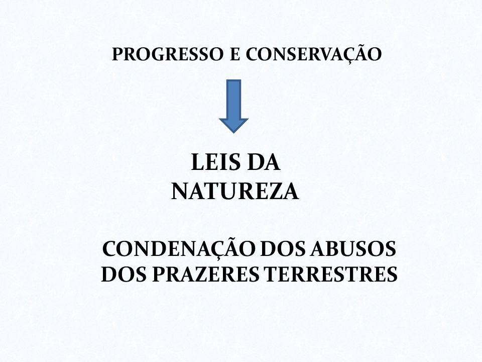 PROGRESSO E CONSERVAÇÃO CONDENAÇÃO DOS ABUSOS DOS PRAZERES TERRESTRES