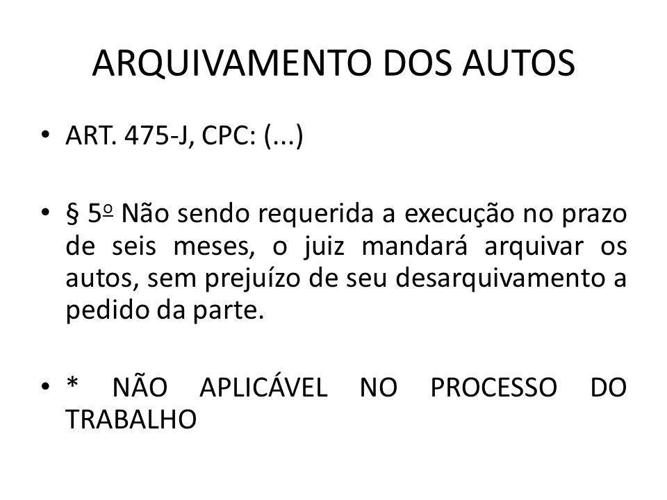 ARQUIVAMENTO DOS AUTOS
