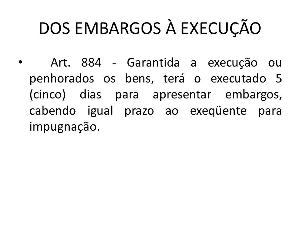 DOS EMBARGOS À EXECUÇÃO