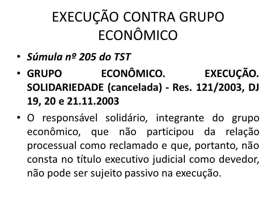 EXECUÇÃO CONTRA GRUPO ECONÔMICO