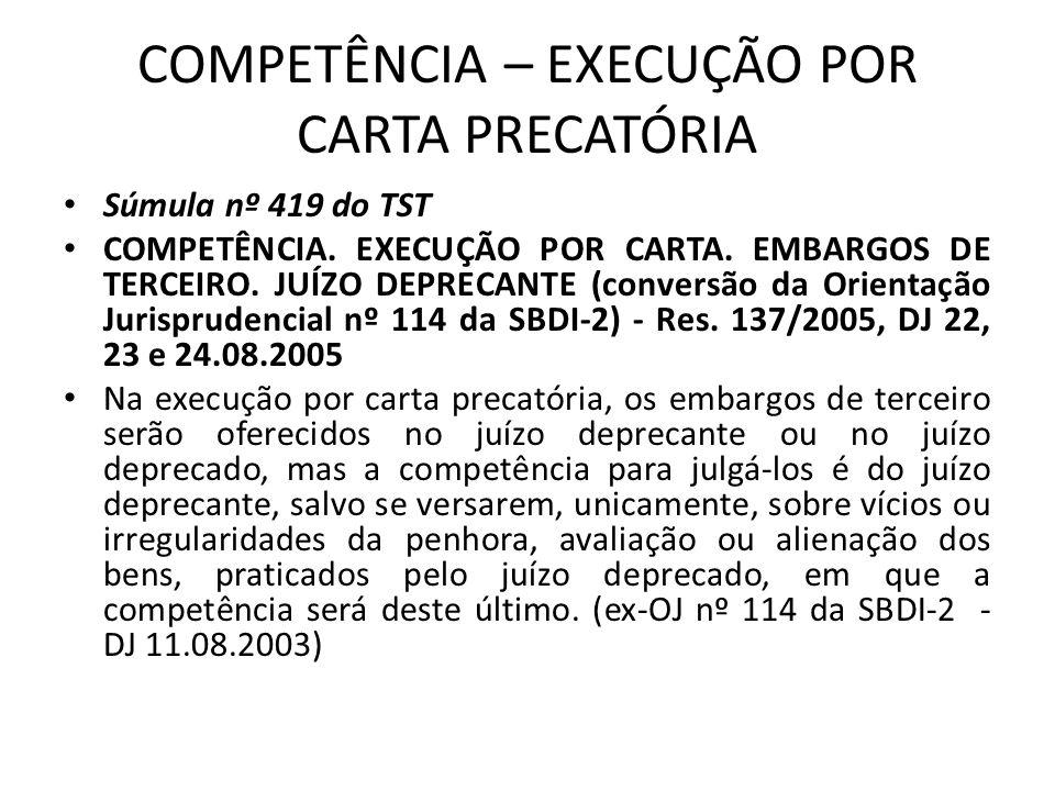COMPETÊNCIA – EXECUÇÃO POR CARTA PRECATÓRIA