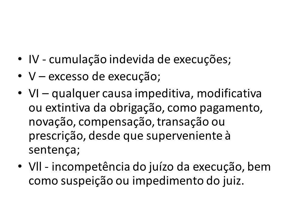 IV - cumulação indevida de execuções;