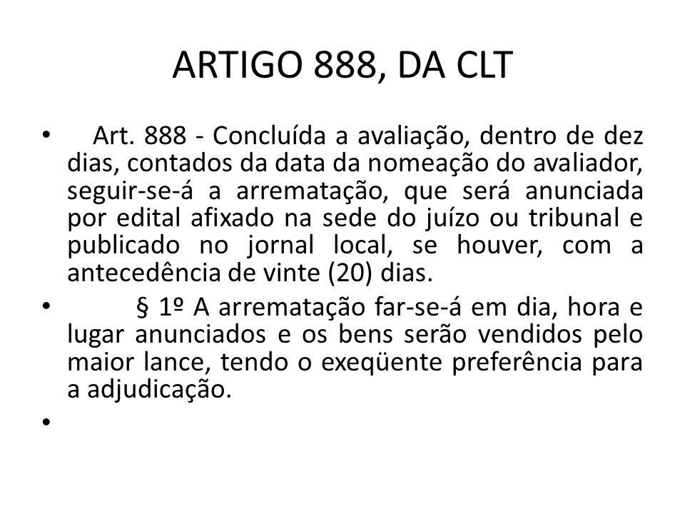 ARTIGO 888, DA CLT