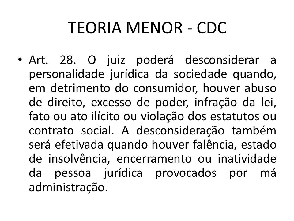 TEORIA MENOR - CDC