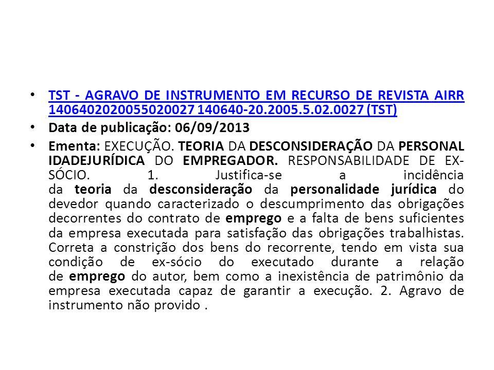 TST - AGRAVO DE INSTRUMENTO EM RECURSO DE REVISTA AIRR 1406402020055020027 140640-20.2005.5.02.0027 (TST)