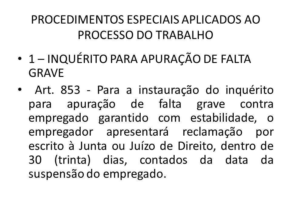 PROCEDIMENTOS ESPECIAIS APLICADOS AO PROCESSO DO TRABALHO