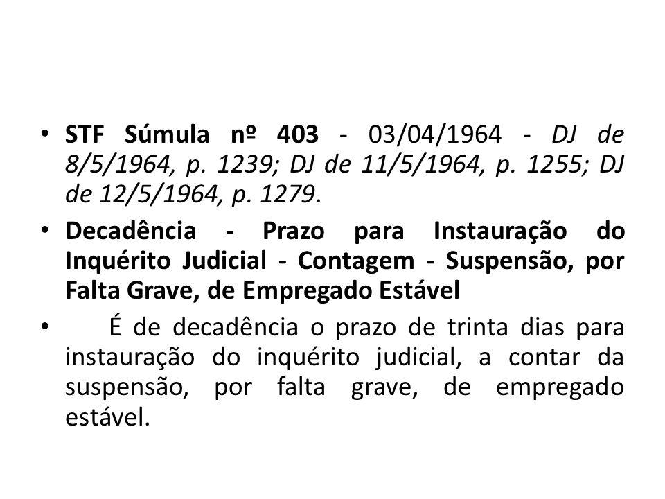 STF Súmula nº 403 - 03/04/1964 - DJ de 8/5/1964, p
