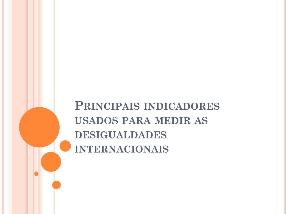 Principais indicadores usados para medir as desigualdades internacionais
