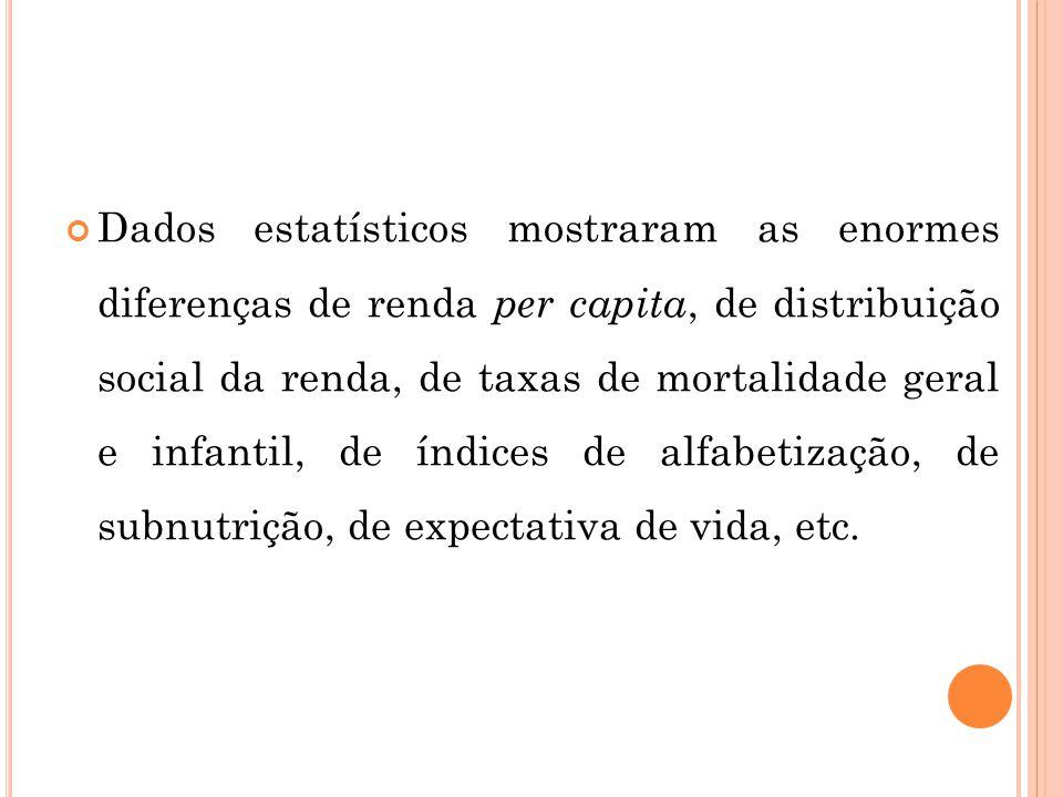 Dados estatísticos mostraram as enormes diferenças de renda per capita, de distribuição social da renda, de taxas de mortalidade geral e infantil, de índices de alfabetização, de subnutrição, de expectativa de vida, etc.