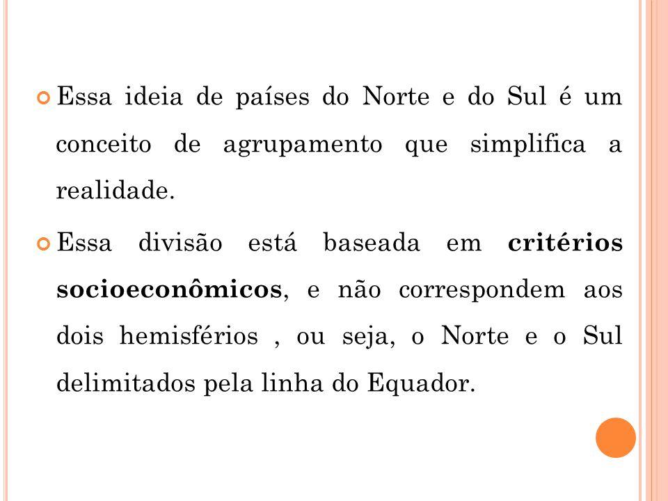 Essa ideia de países do Norte e do Sul é um conceito de agrupamento que simplifica a realidade.