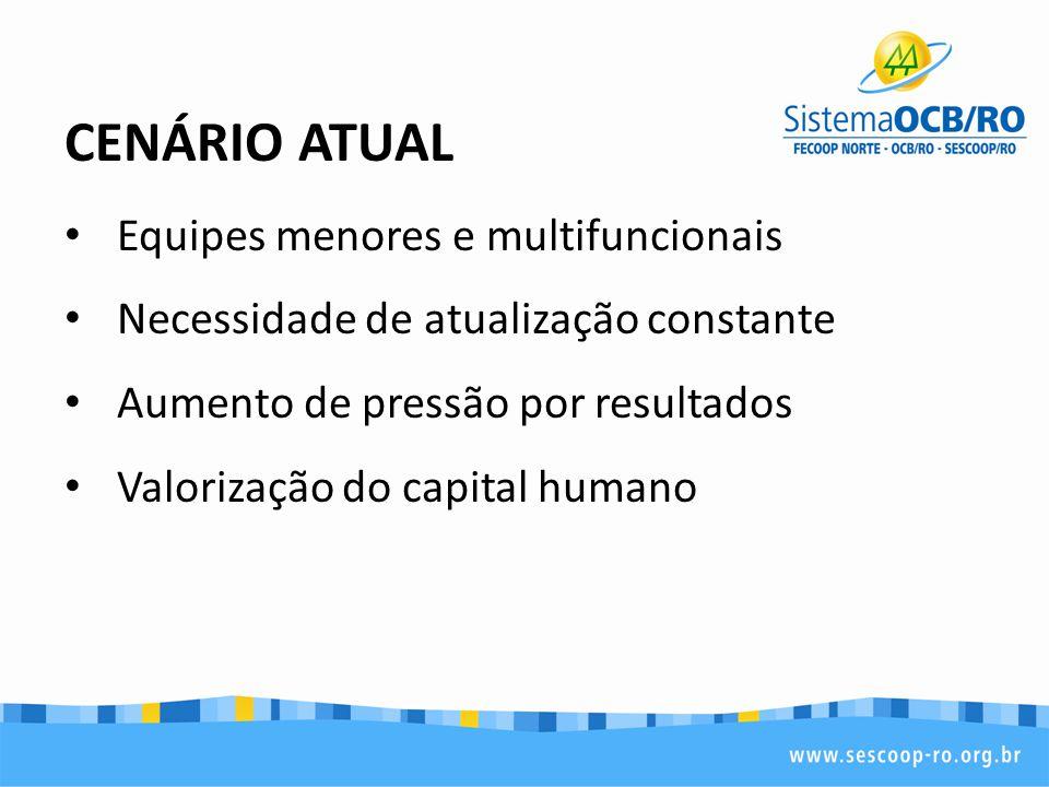 CENÁRIO ATUAL Equipes menores e multifuncionais