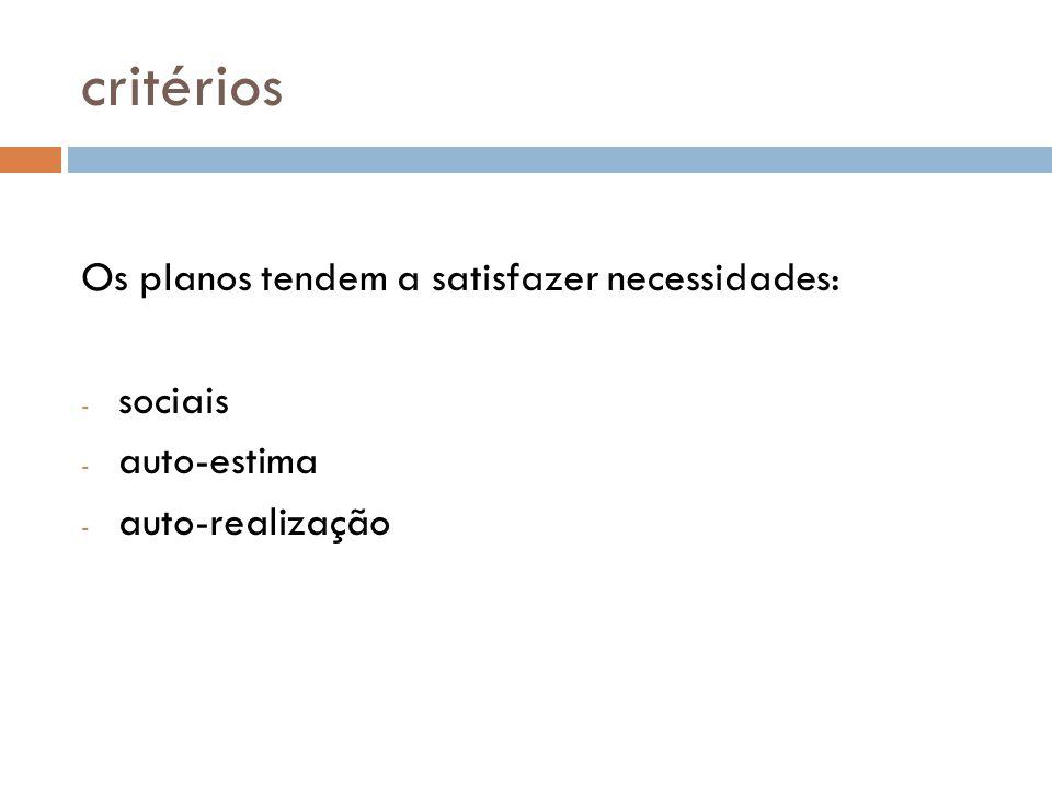 critérios Os planos tendem a satisfazer necessidades: sociais