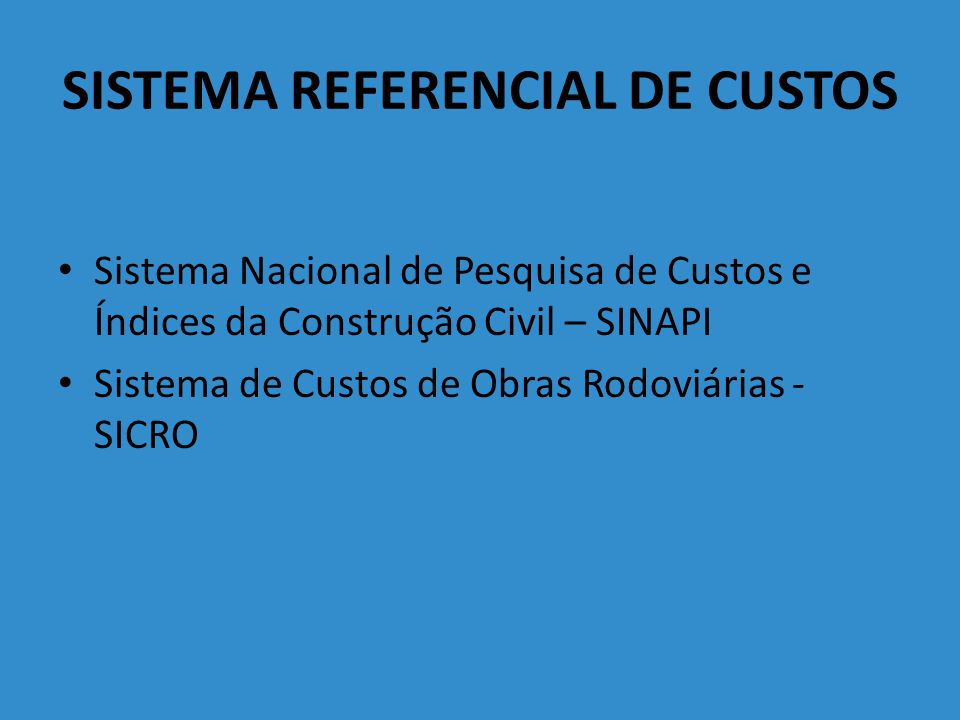 SISTEMA REFERENCIAL DE CUSTOS