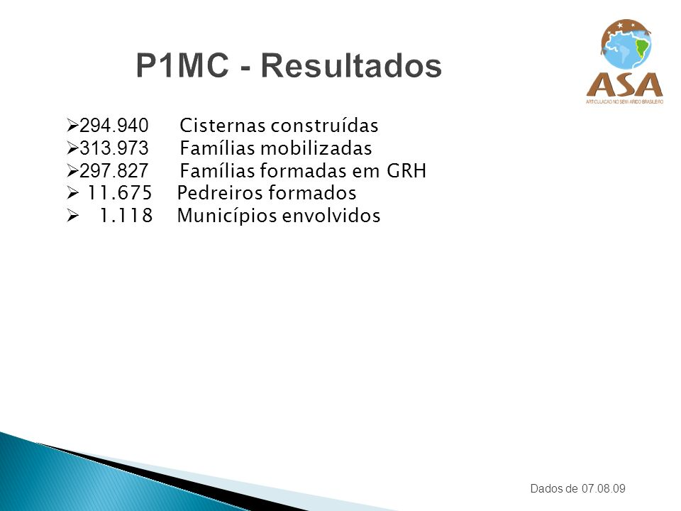 P1MC - Resultados 294.940 Cisternas construídas