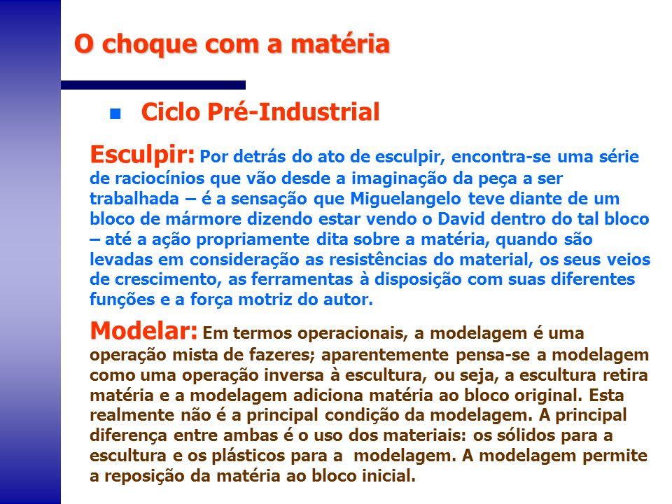 O choque com a matéria Ciclo Pré-Industrial