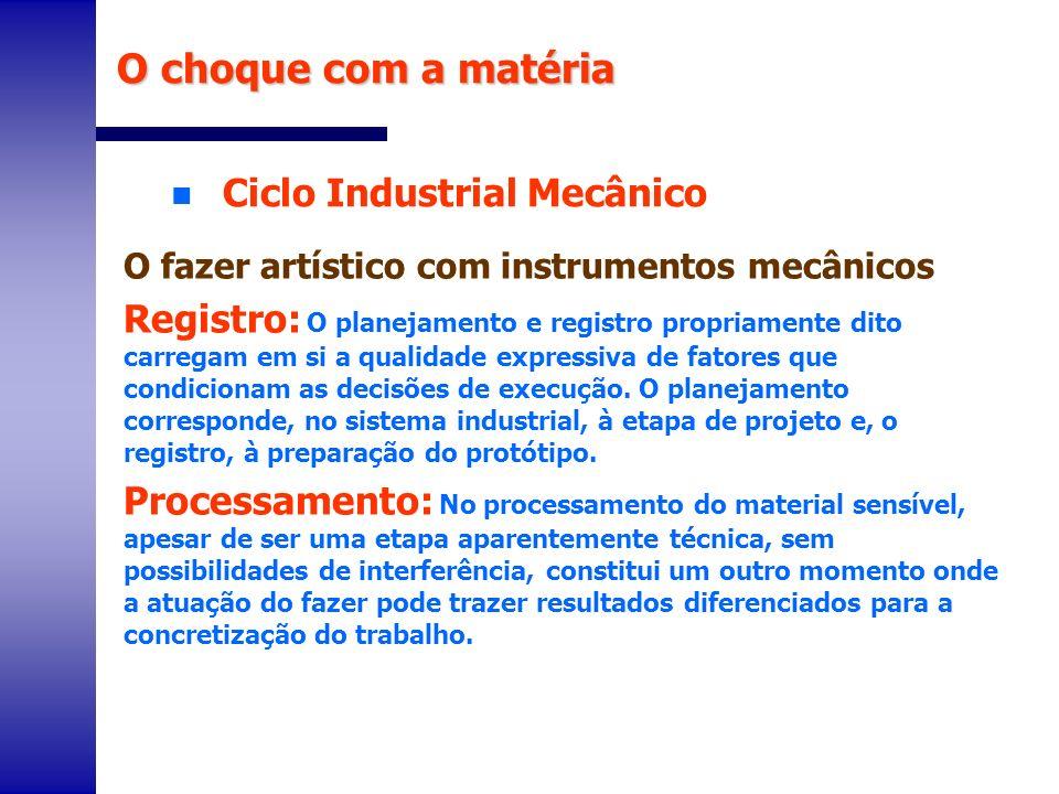 O choque com a matéria Ciclo Industrial Mecânico