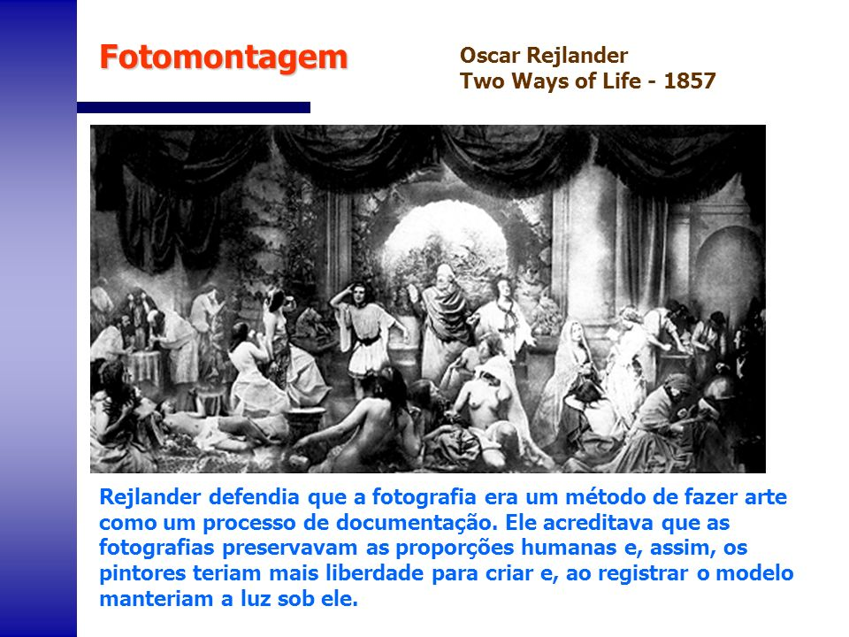 Fotomontagem Oscar Rejlander Two Ways of Life - 1857