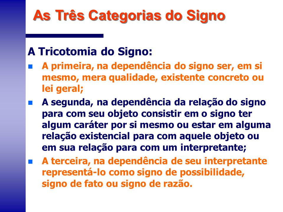 As Três Categorias do Signo