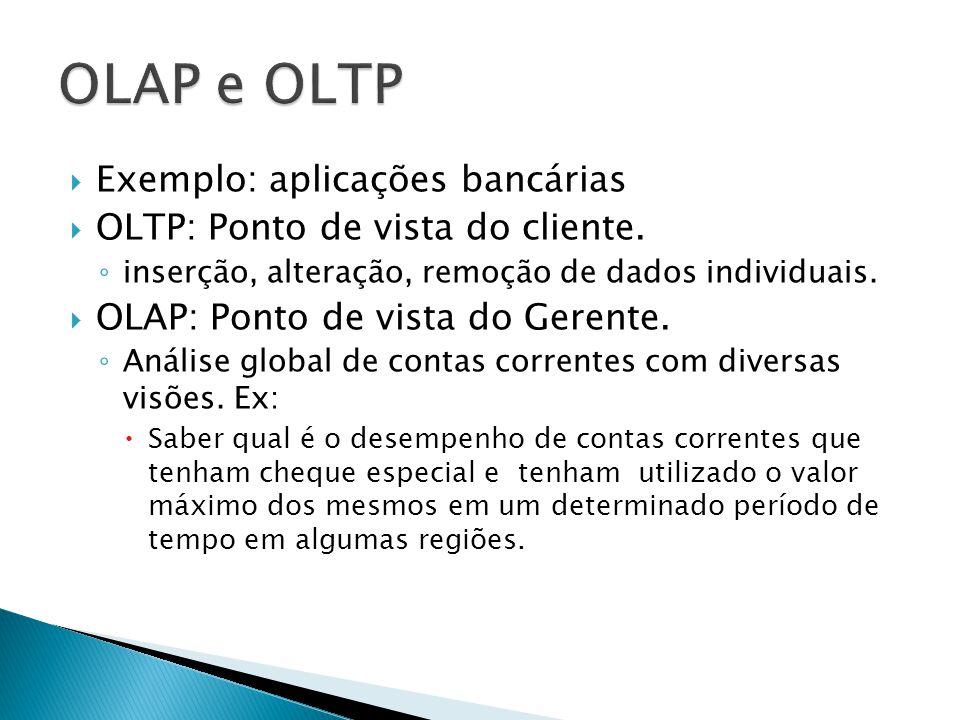 OLAP e OLTP Exemplo: aplicações bancárias