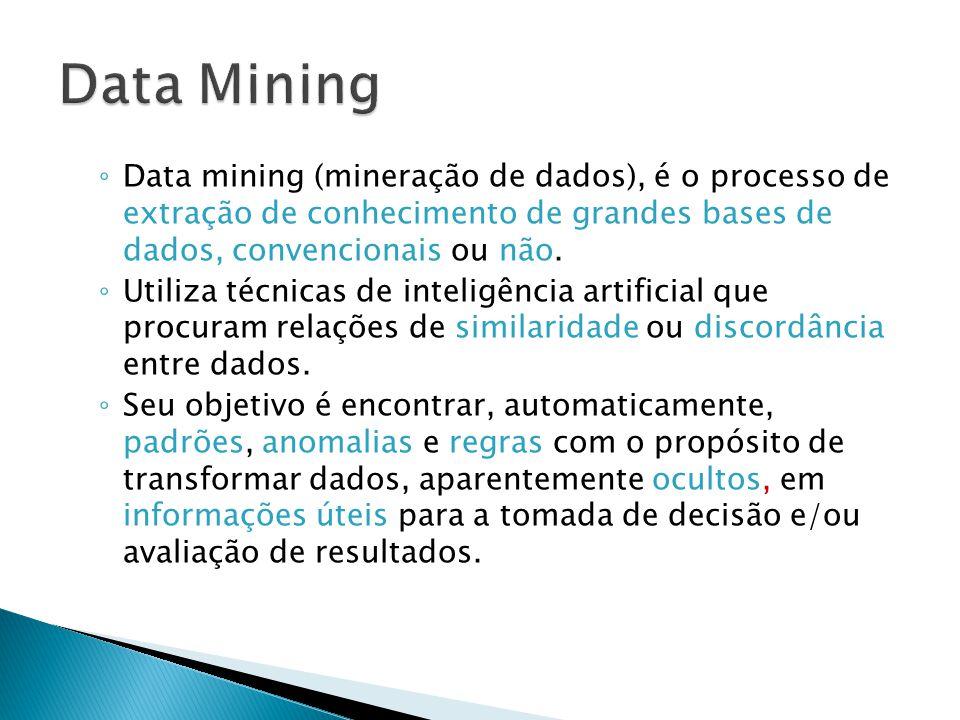 Data Mining Data mining (mineração de dados), é o processo de extração de conhecimento de grandes bases de dados, convencionais ou não.