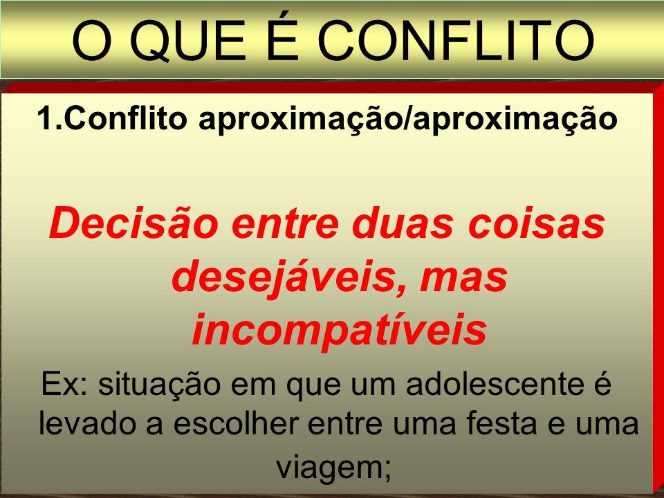 O QUE É CONFLITO 1.Conflito aproximação/aproximação. Decisão entre duas coisas desejáveis, mas incompatíveis.