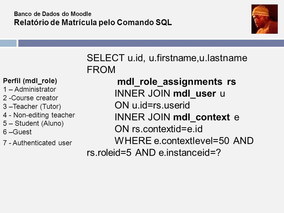 SELECT u.id, u.firstname,u.lastname FROM mdl_role_assignments rs
