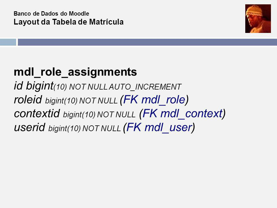 mdl_role_assignments id bigint(10) NOT NULL AUTO_INCREMENT