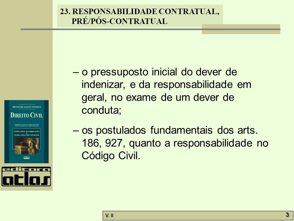 – o pressuposto inicial do dever de indenizar, e da responsabilidade em geral, no exame de um dever de conduta;