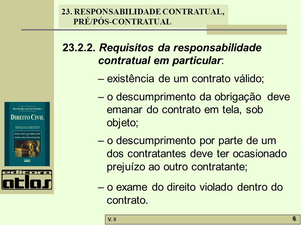 23.2.2. Requisitos da responsabilidade contratual em particular: