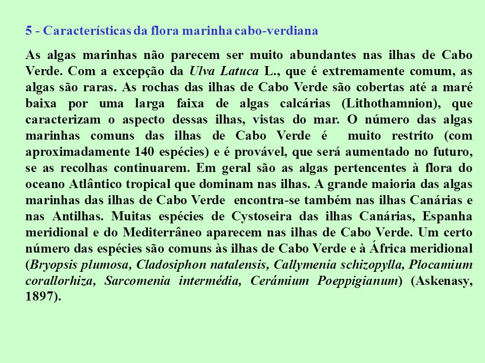 5 - Características da flora marinha cabo-verdiana