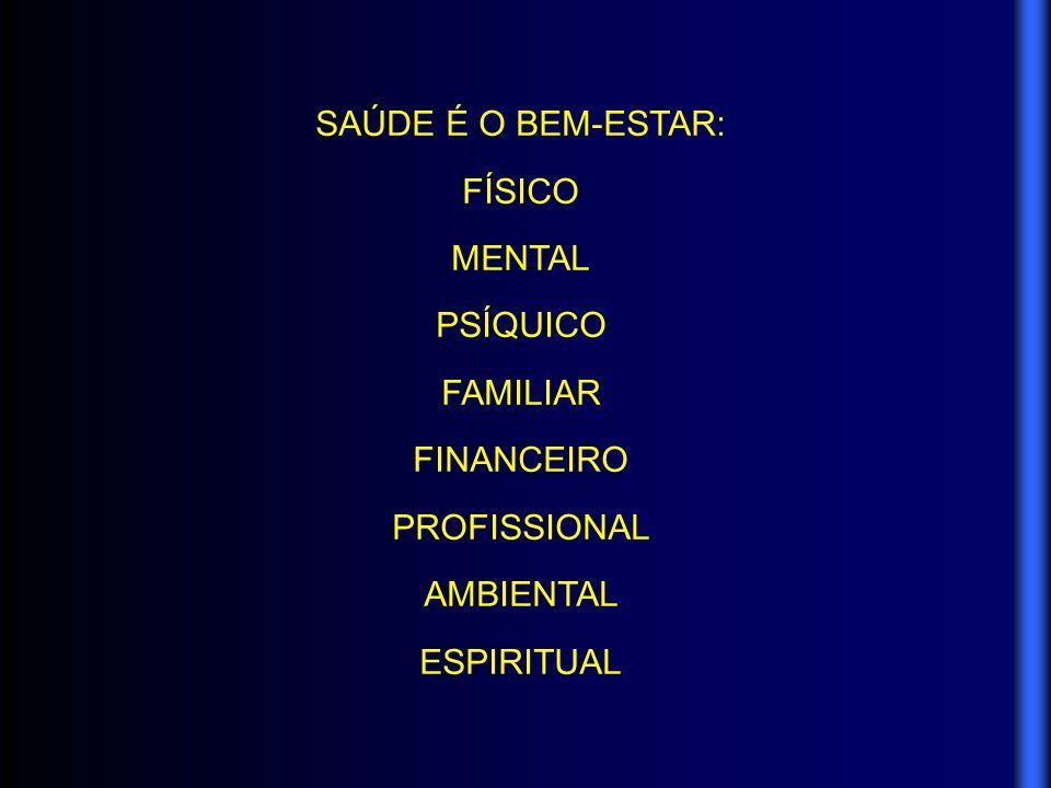 SAÚDE É O BEM-ESTAR: FÍSICO MENTAL PSÍQUICO FAMILIAR FINANCEIRO PROFISSIONAL AMBIENTAL ESPIRITUAL