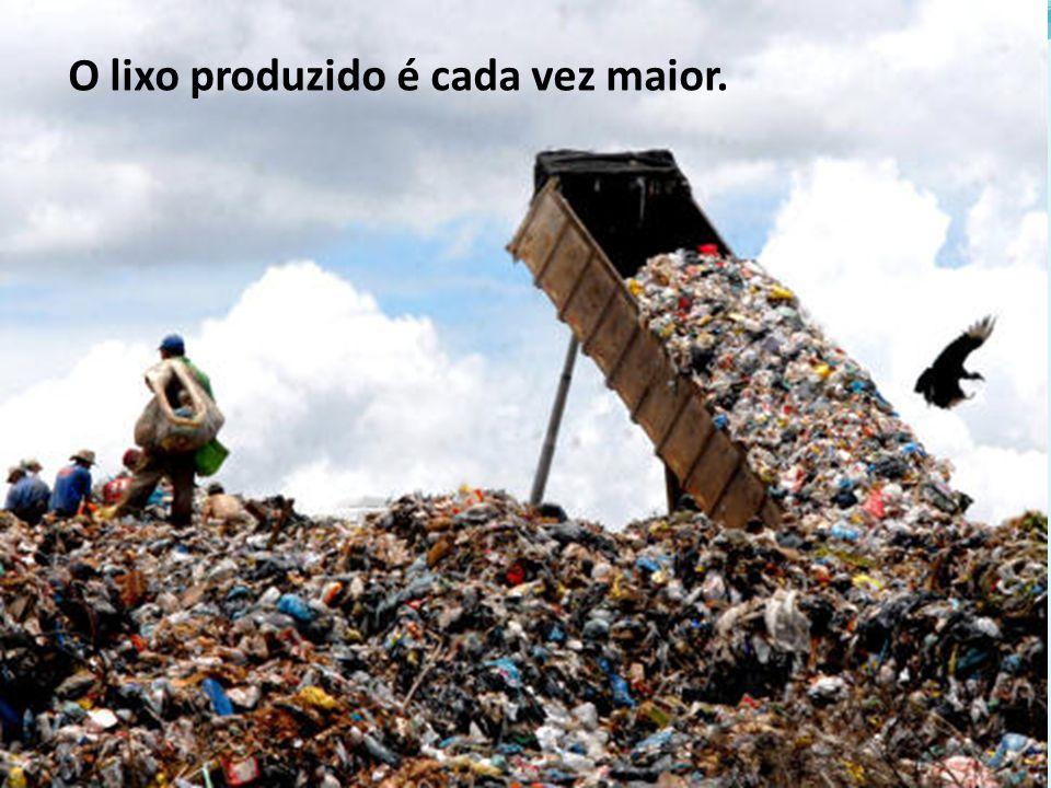 O lixo produzido é cada vez maior.