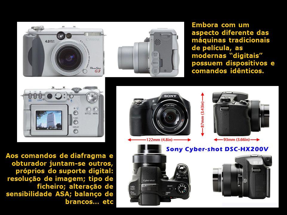 Embora com um aspecto diferente das máquinas tradicionais de película, as modernas digitais possuem dispositivos e comandos idênticos.