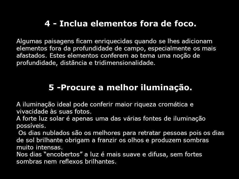 4 - Inclua elementos fora de foco. 5 -Procure a melhor iluminação.