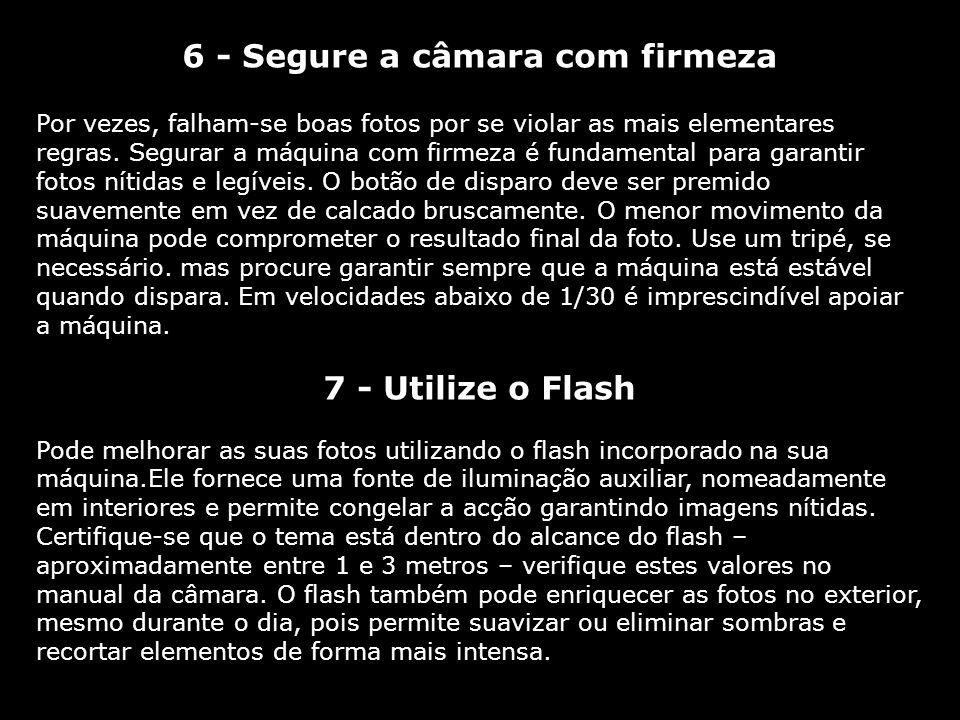 6 - Segure a câmara com firmeza