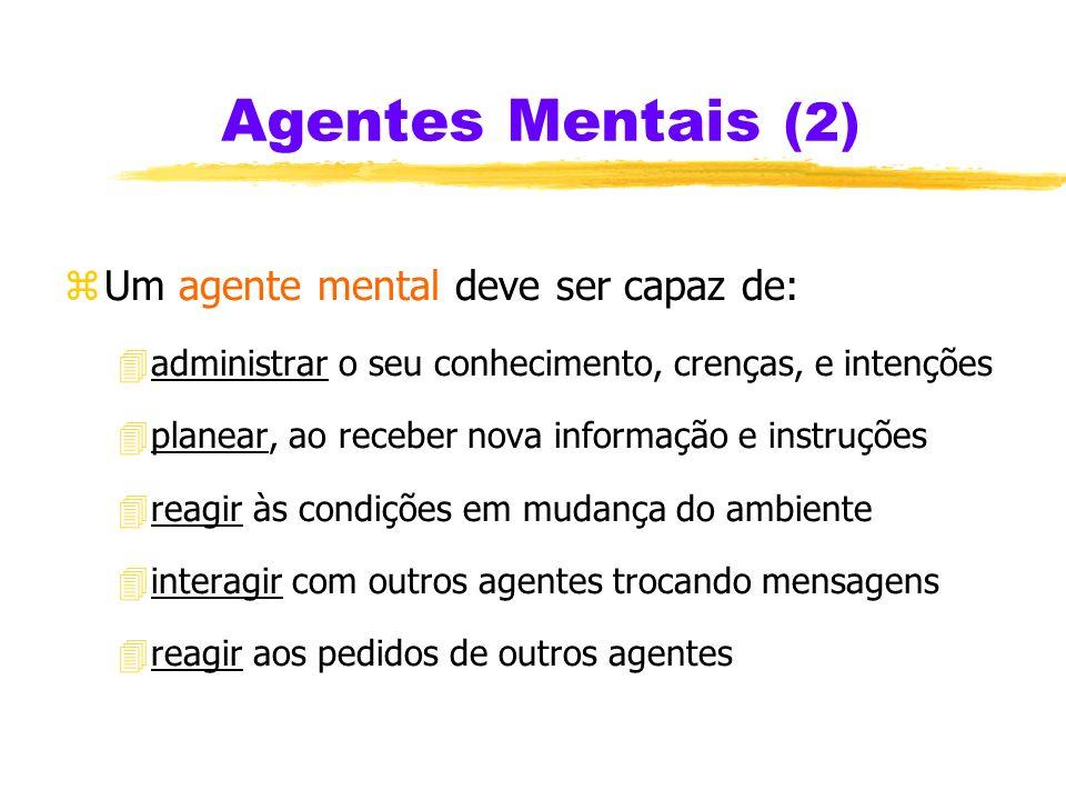 Agentes Mentais (2) Um agente mental deve ser capaz de: