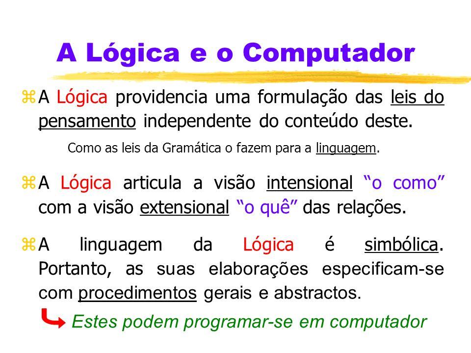 A Lógica e o Computador A Lógica providencia uma formulação das leis do pensamento independente do conteúdo deste.
