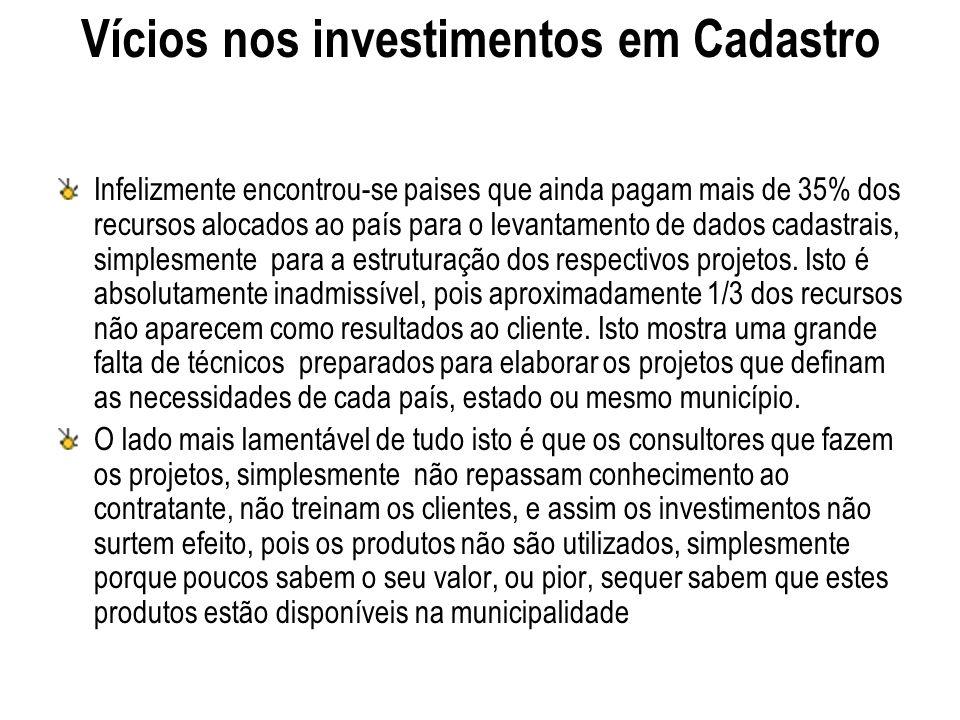 Vícios nos investimentos em Cadastro