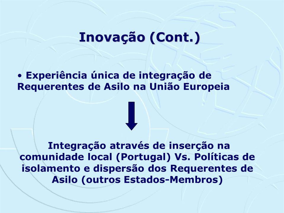 Inovação (Cont.)Experiência única de integração de Requerentes de Asilo na União Europeia.