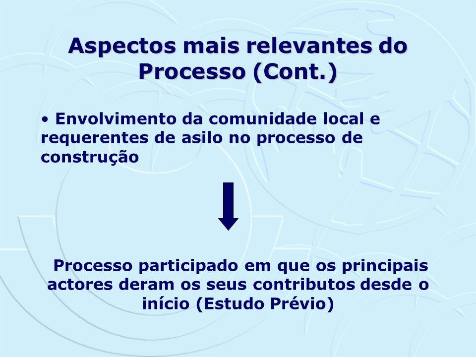 Aspectos mais relevantes do Processo (Cont.)