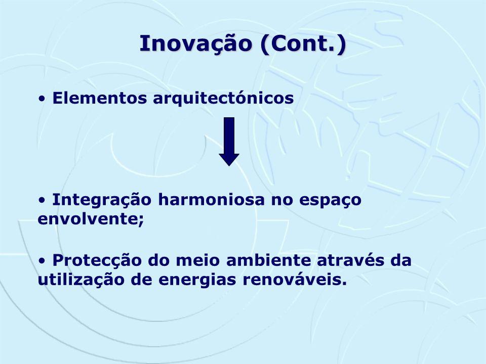 Inovação (Cont.) Elementos arquitectónicos