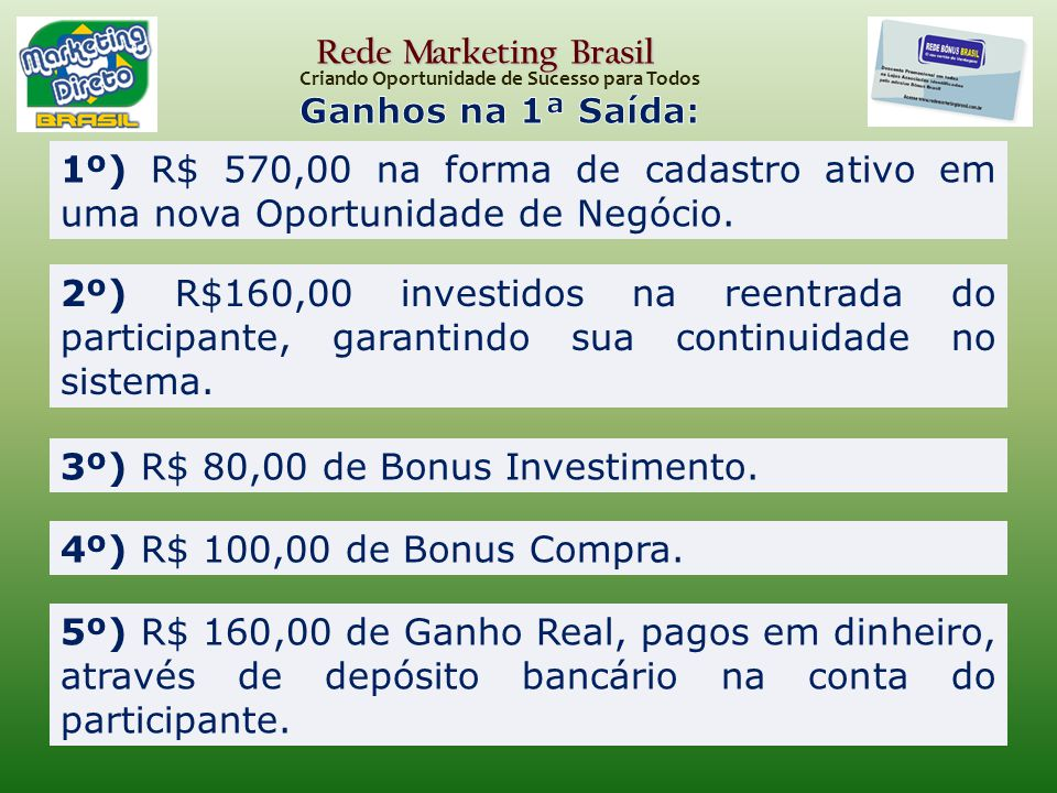 3º) R$ 80,00 de Bonus Investimento.