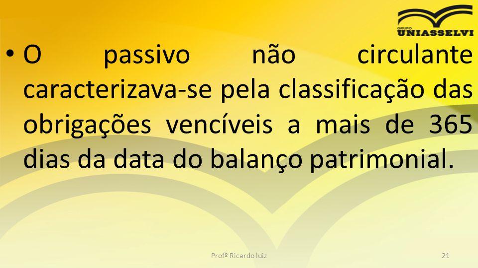 O passivo não circulante caracterizava-se pela classificação das obrigações vencíveis a mais de 365 dias da data do balanço patrimonial.