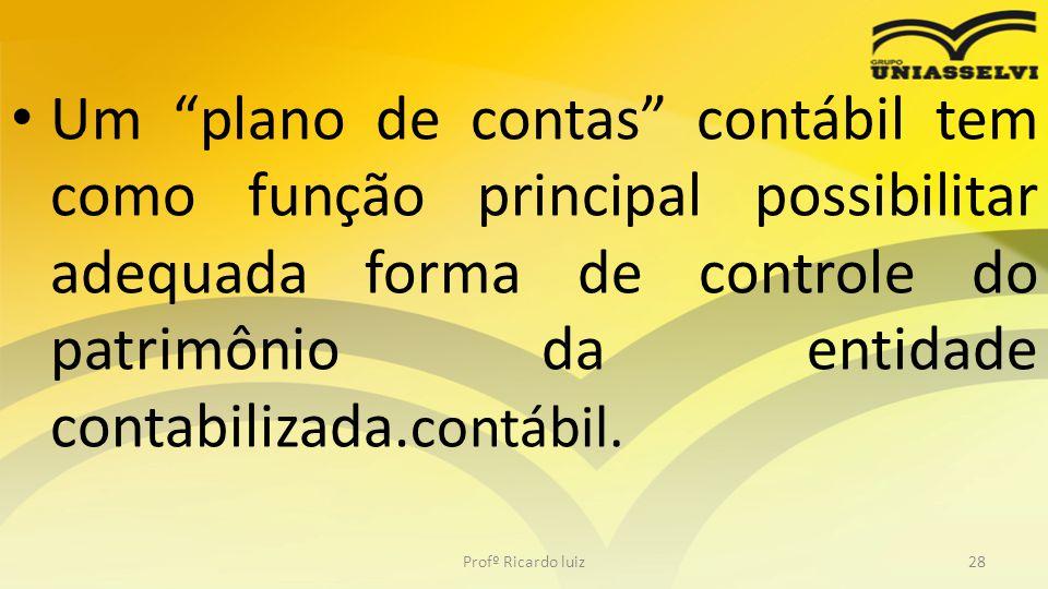 Um plano de contas contábil tem como função principal possibilitar adequada forma de controle do patrimônio da entidade contabilizada.contábil.