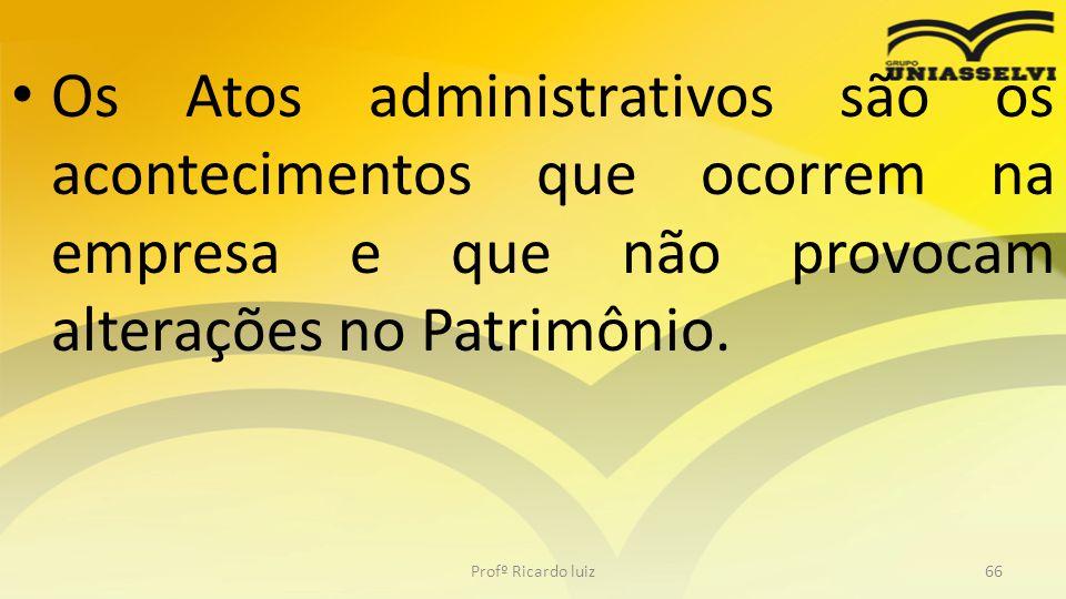 Os Atos administrativos são os acontecimentos que ocorrem na empresa e que não provocam alterações no Patrimônio.