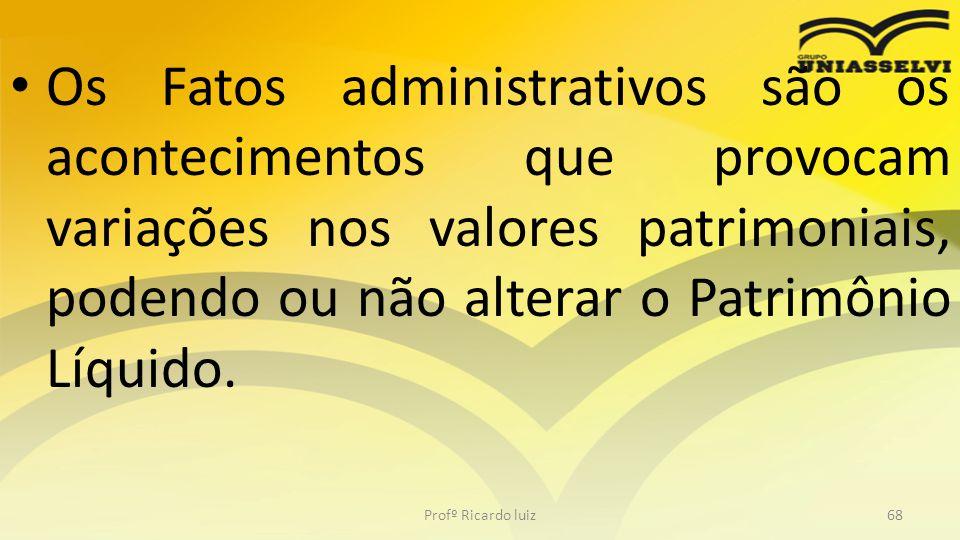 Os Fatos administrativos são os acontecimentos que provocam variações nos valores patrimoniais, podendo ou não alterar o Patrimônio Líquido.